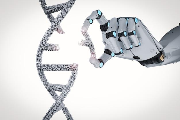 Concept de génie génétique avec rendu 3d robotique main éditant l'hélice d'adn