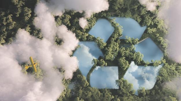 Concept de gestion des déchets respectueux de l'environnement. signe de recyclage en forme de lac au milieu de la végétation dense de la forêt amazonienne vue du haut des nuages avec un petit avion jaune. rendu 3d.