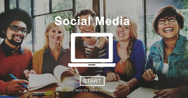 Concept global de la communauté de communication de médias sociaux