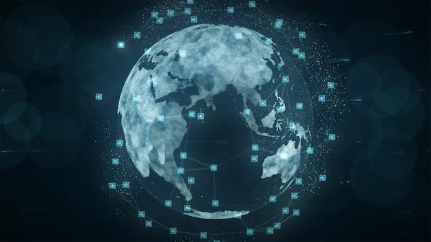 Concept global de connexions réseau et de données blockchain.