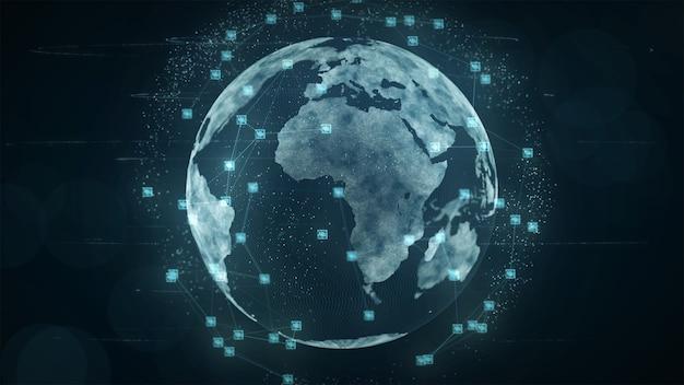 Concept global croissant de connexions réseau et données de blockchain.