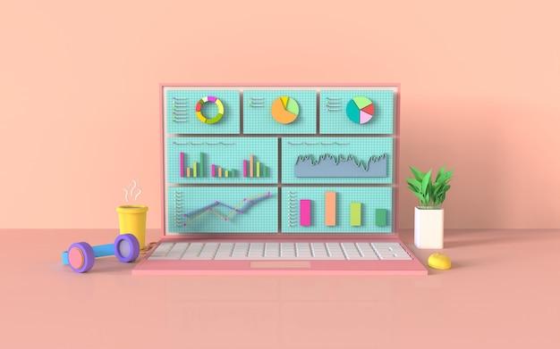 Concept de graphique à barres de marketing numérique pour ordinateur portable de médias sociaux rendu 3d