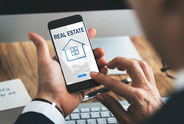 Concept graphique de connexion au site web de prêt hypothécaire