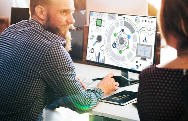 Concept graphique de connexion de technologie de l'information