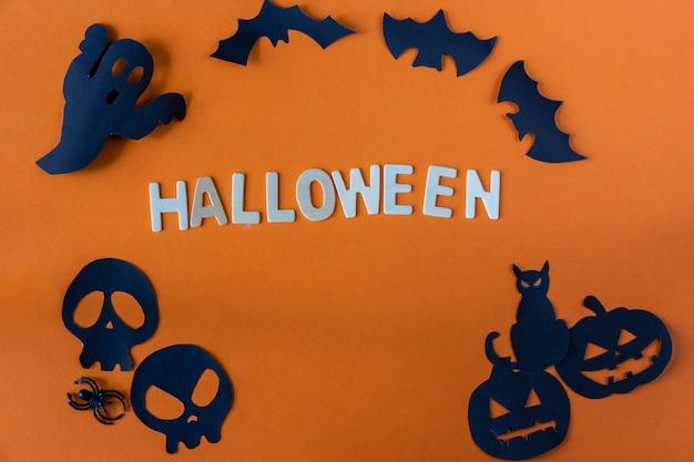 Concept d'halloween sur fond orange