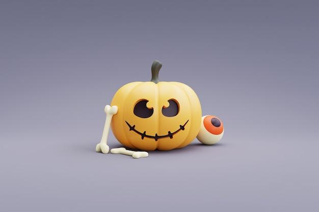 Concept d'halloween heureux avec le caractère de citrouilles sur le rendu gris background.3d.