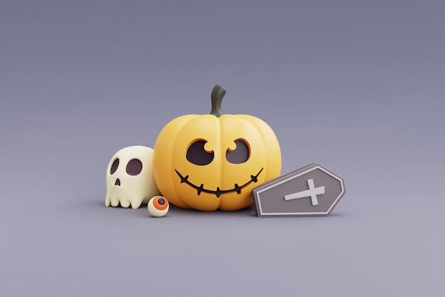 Concept d'halloween heureux, personnage de citrouilles, crâne, os, cercueil. sur fond gris. rendu 3d.