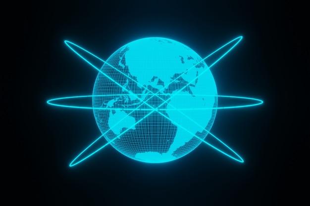 Concept d'hologramme futuriste numérique planète terre lueur dans le rendu 3d