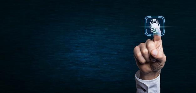 Concept d'identification biométrique avec empreintes digitales