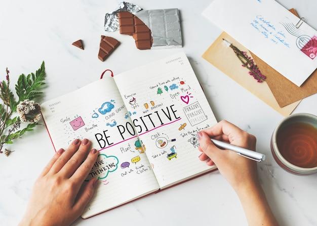 Concept d'illustrations de dessin animé de message de positivité
