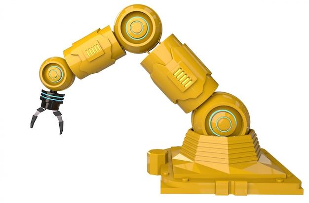Concept d'industrie d'automatisation avec bras de robot de rendu 3d sur fond blanc