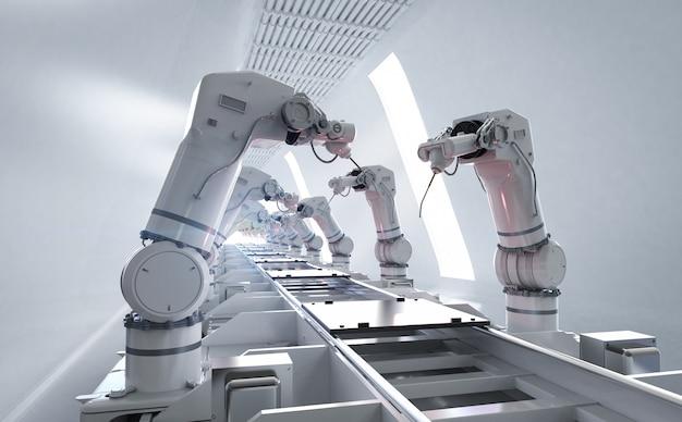 Concept de l'industrie de l'automatisation avec chaîne d'assemblage de robots de rendu 3d dans l'usine