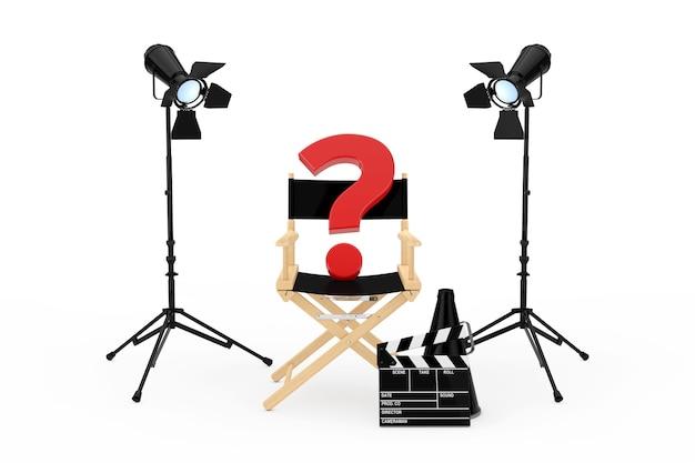 Concept de l'industrie du cinéma. chaise de réalisateur, movie clapper et projecteurs avec point d'interrogation rouge sur fond blanc. rendu 3d