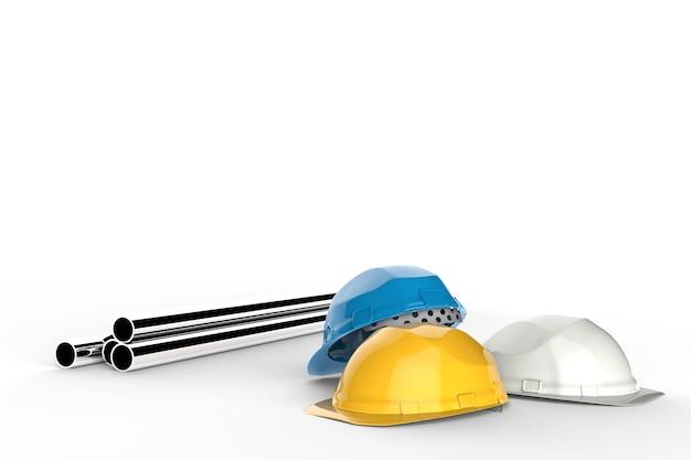 Concept d'ingénieur civil avec casques de sécurité et pipeline