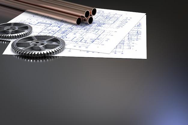 Concept d'ingénieur civil avec des tuyaux en métal et du papier de plan