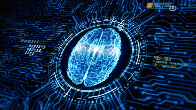 Concept d'intelligence artificielle cerveau au-dessus du circuit imprimé