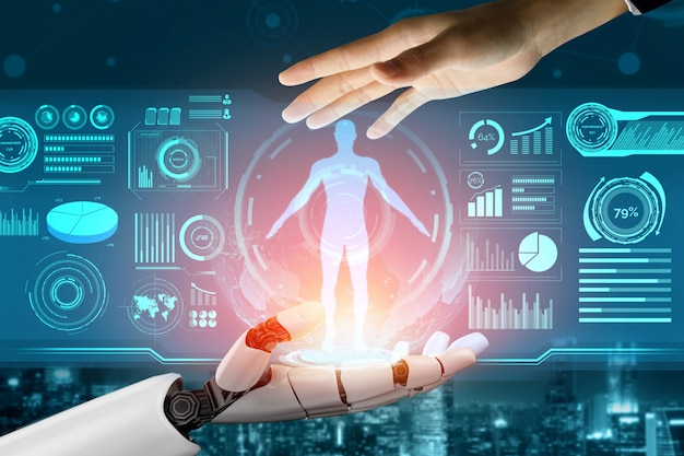 Concept d'intelligence artificielle de robot futuriste.