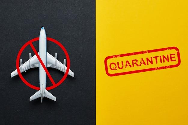 Concept d'une interdiction de vol en raison de la quarantaine et du virus