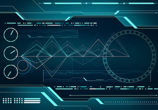 Concept d'interface hud avec technologie de l'image numérique avec puce de circuit en réalité virtuelle