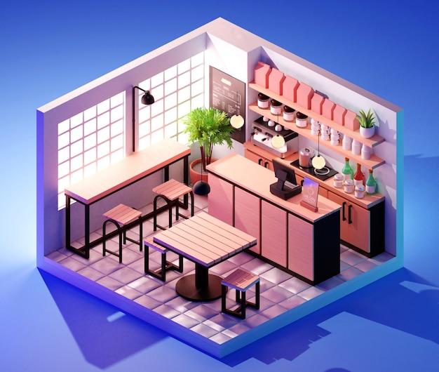 Concept d'intérieur de café isométrique. illustration 3d