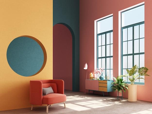 Concept d'intérieur de fauteuil coloré design memphis avec console et accessoire de rendu 3d