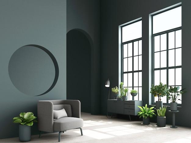 Concept d'intérieur de fauteuil coloré design memphis avec console et plante rendu 3d