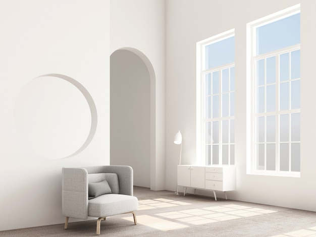 Concept d'intérieur de fauteuil design memphis avec console et accessoire de rendu 3d