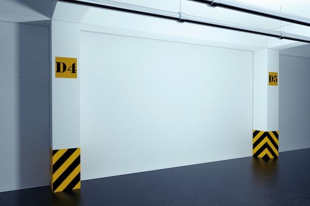 Concept d'intérieur industriel. garage de stationnement souterrain vide gros plan extrême. rendu 3d.