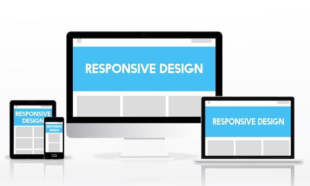 Concept internet de mise en page de conception réactive