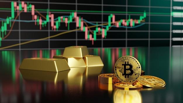 Concept d'investissement bitcoin et crypto-monnaie. rendu 3d.