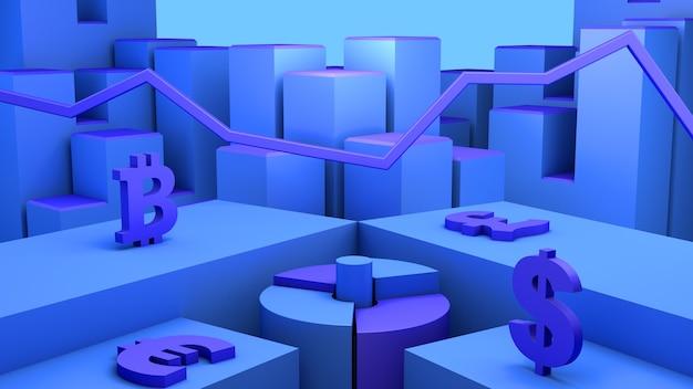 Concept d'investissement financier en bourse. illustration 3d.