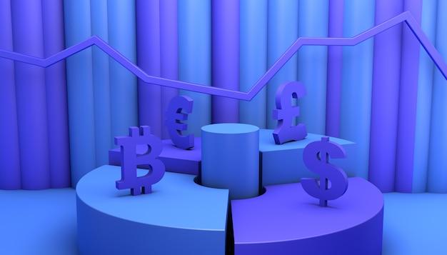 Concept d'investissement financier en bourse. illustration 3d