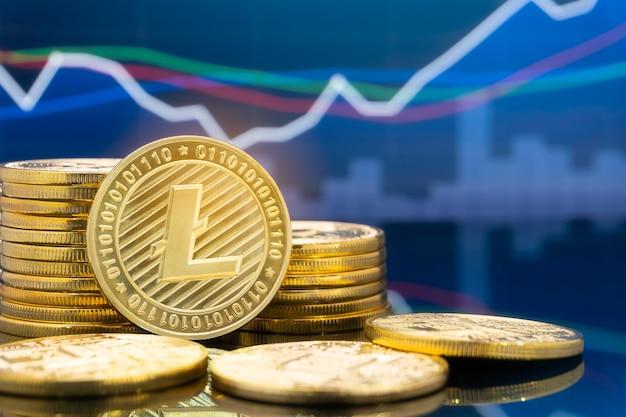 Concept d'investissement litecoin et crypto-monnaie.