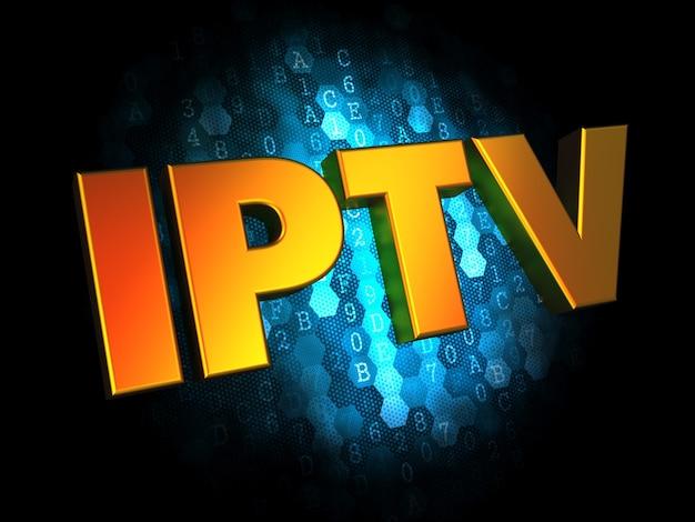 Concept iptv - texte de couleur dorée sur fond numérique bleu foncé.