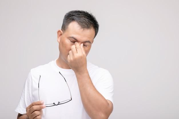 Concept d'irritation oculaire: portrait d'un homme asiatique en posture d'oeil fatigué, irritation ou problème au niveau de son œil.