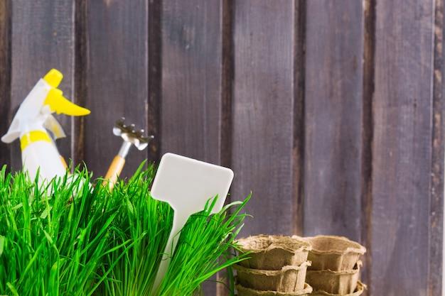 Concept de jardinage avec herbe verte, outils, pulvérisateur, pots organiques et étiquette blanche pour texte