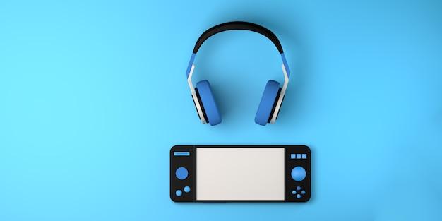 Concept de jeu casque avec contrôleur de console de jeu espace de copie de la manette de jeu