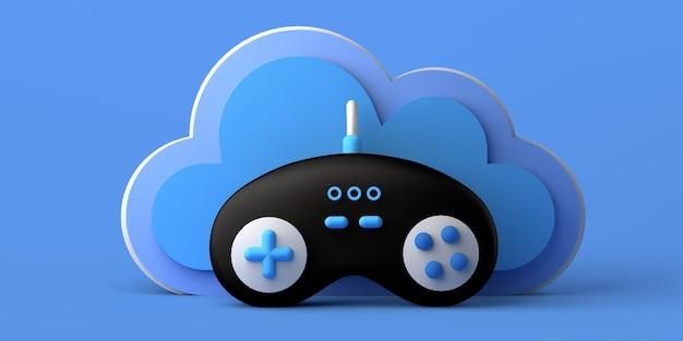 Concept de jeu en ligne. manette de jeu avec nuage. joueur. espace de copie. bannière. illustration 3d.