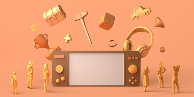 Concept de jeu manette de jeu géante avec casque et poitrine autour regardée par des personnes illustration 3d