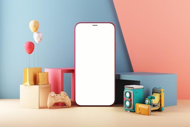 Concept de jeu de smartphone. téléphone avec manette de jeu. pastel coloré design tendance minimal. l'écran de l'appareil sur fond minimal moderne pour la présentation ou la conception d'applications affiche le rendu 3d