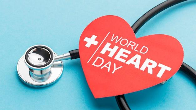 Concept de la journée mondiale du coeur gros plan