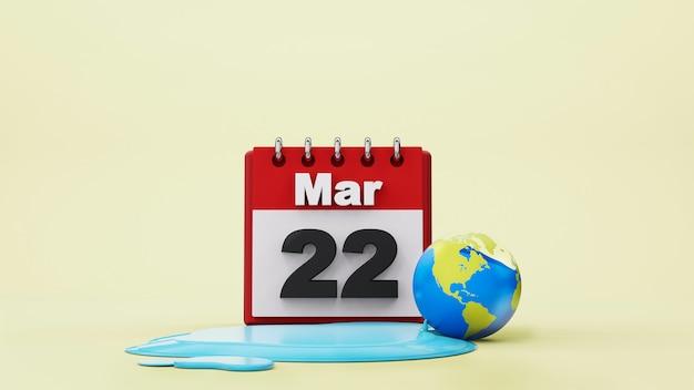 Concept de la journée mondiale de l'eau économie d'eau et concept de protection de l'environnement mondial, rendu 3d