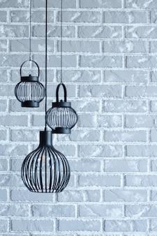 Concept de lampe moderne brique mur vide décoration intérieure, décoratif