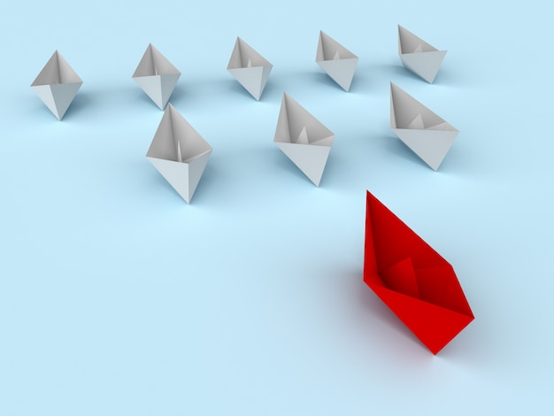 Concept de leadership. bateaux en papier 3d