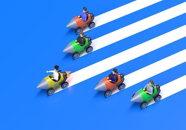 Concept de leadership et de concurrence l'homme d'affaires mène la course contre le rendu 3d des fusées lentes