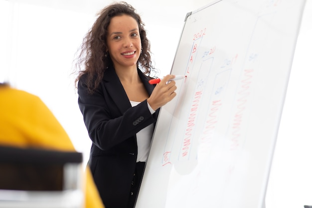 Concept de leadership d'entreprise. une jeune conférencière fait une présentation sur tableau blanc pour divers employés au bureau