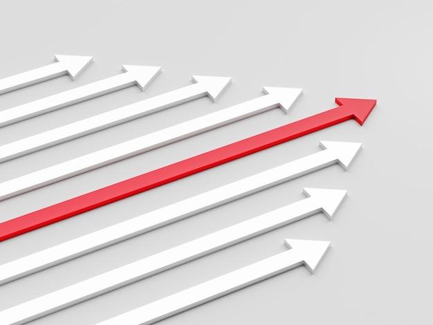 Concept de leadership une flèche de leader rouge menant l'équipe vers l'avant