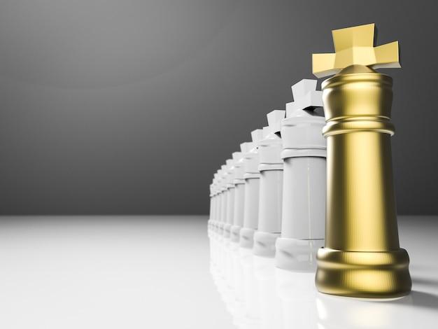 Concept de leadership avec le roi des échecs de rendu 3d