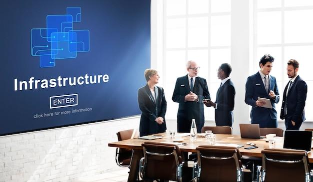 Concept de lien de puce de construction d'infrastructures