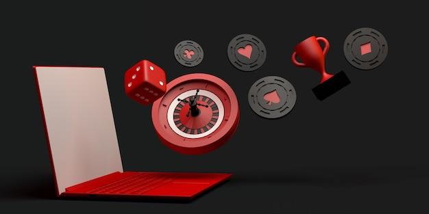 Concept en ligne de casino avec ordinateur portable. bannière de jeu. app. illustration 3d. espace de copie.